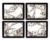 タブレット pc 画面上でお金の多く — ストック写真