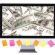 Lot of money on a pc screen with color stickers — Stock Photo