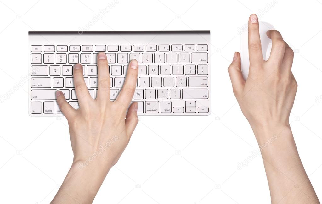 Hand and Computer keyboard, mouse isolated — Stock Photo #14878345