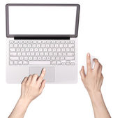 Laptop with woman hand isolated — Stock Photo