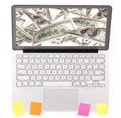 Laptop making money concept isolated — Stock Photo