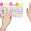 Hand and Computer keyboard, mouse — Stock Photo