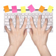 Hands typing on computer keyboard — Stock Photo
