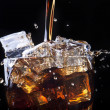 Fresh cola drink background with ice — Stock fotografie