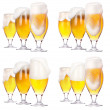 Frosty glass of light beer isolated set — Stockfoto