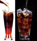 Fresh cola drink background with ice — Foto Stock