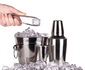 Bar accessories with ice isolated — Stock Photo