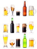 Set with different beer on white background — Stock Photo