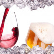 Alcohol set with ice isolated — Stock Photo #17877037
