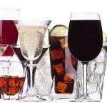 verschiedene Bilder von Alkohol isoliert — Stockfoto