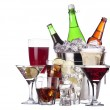 Different images of alcohol set isolated - Stock Photo