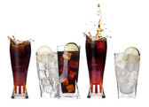 Fresh cola drink background with ice — Stock Photo