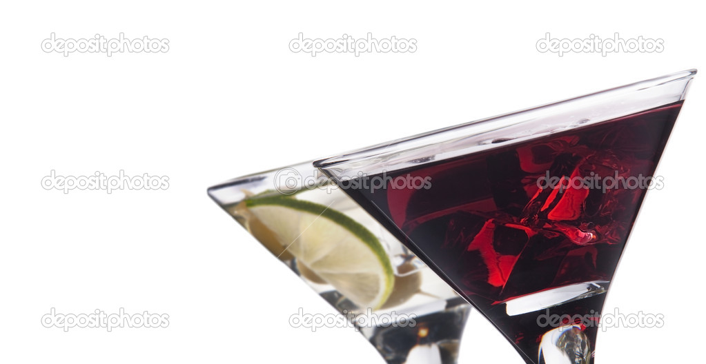 Martini with olive and ice set - fresh cocktail isolated on a white background — Stock Photo #18271787