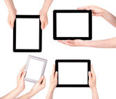 Touch screen tablet computer with hand set — Stock Photo