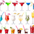 Stock Photo: Set of alcoholic cocktails isolated