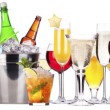 Set of different alcoholic drinks and cocktails - 