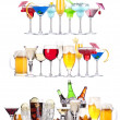 Stock Photo: Set of different alcoholic drinks and cocktails