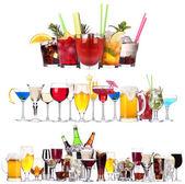 Sada různých alkoholických nápojů a koktejlů — Stock fotografie