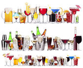 Set of different alcoholic drinks and cocktails — Stok fotoğraf