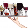 Different alcohol drinks on a tray — Stock Photo #22645921