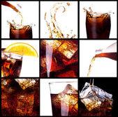 Fresh cola background with splash — Stock Photo