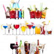 Set of different alcoholic drinks and cocktails — Stock fotografie