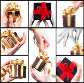 Taking a gift concept backround set — Stock Photo