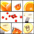 Fruits with water splash collage set — Stock Photo