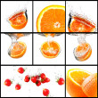 Orange with water splash collage set — Stock Photo