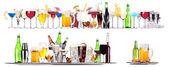Ensemble de différentes boissons alcoolisées et cocktails — Photo