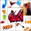 Stock Photo: Different meat dishes and alcohol drinks