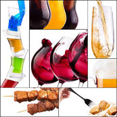 Different meat dishes and alcohol drinks — Stock Photo