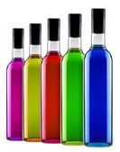 Full bottles of different multicolored alcoholic cocktails — Stock Photo