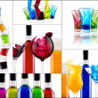 Stock Photo: Fresh alcohol drinks collage