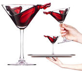Red cocktail with splash set — Stock Photo