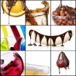 Tasty desserts and fresh drinks collage — Stock Photo