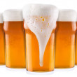 Frosty fresh beer collection with foam isolated - Stockfoto