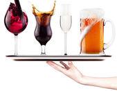 Colección de imágenes diferentes de alcohol aislado — Foto de Stock