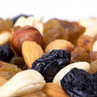 Dried fruits and nuts close up — Stock Photo