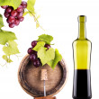 Grapes on a barrel with corkscrew and wine glass — Stock Photo