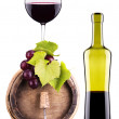 Royalty-Free Stock Photo: Grapes on a barrel with corkscrew and wine glass