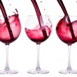 Full and empty red wine glass isolated — Stock Photo