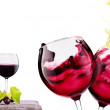 Red wine assortment of grapes and cheese — Foto de Stock