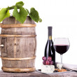 Red wine assortment of grapes and cheese — ストック写真