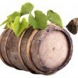 Grapes on a wooden vintage barrel — Stock Photo