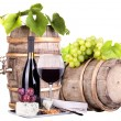 Grapes on a barrel wine  and cheese — Stock Photo