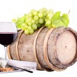 Stock Photo: Grapes on a barrel, wine and cheese