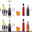 Red wine, champagne, beer, alcohol cocktail — Stock Photo
