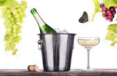 Glass and bottle of champagne in ice bucket — Stock Photo