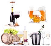Szampan, czerwone i białe wino, piwo — Zdjęcie stockowe